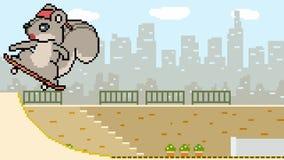 Patin d'écureuil d'art de pixel d'animation banque de vidéos
