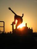 Patin de coucher du soleil Images stock