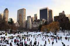 Patin de glace de New York City Central Park Photographie stock