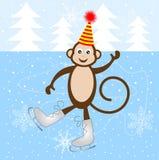 Patin gai de singe sur la glace Images libres de droits