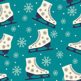 Patin Modèle sans couture de Noël sur le fond bleu Images libres de droits