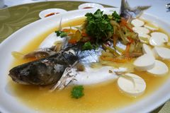 Patin silver catfish steamed with chinese style Stock Photos