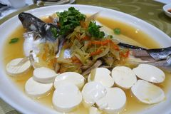 Patin silver catfish steamed with chinese style royalty free stock images