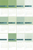 Patina and olive drab colored geometric patterns calendar 2016 Royalty Free Stock Photo