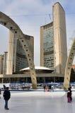 Patinage à la ville hôtel de Toronto Photo libre de droits
