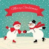 Patinage de glace de bonhommes de neige illustration stock