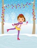 Patinage de glace de petite fille Image stock