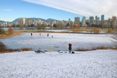 Patinage de glace extérieur à Vancouver Photos libres de droits