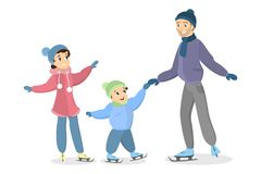 Patinage de glace de famille illustration de vecteur