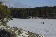 Patinage de glace sur un lac congelé en Suède les enfants enfantent deux image libre de droits