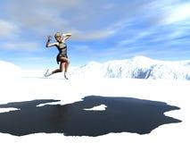 Patinage sur la glace mince Photo stock