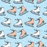 Patinagem artística contra o contexto do gelo Imagem de Stock Royalty Free