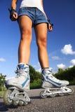 Patinagem de Rollerblading/rolo Imagem de Stock