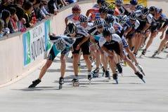 Patinagem de velocidade no Trois Pistes (três trilhas) Fotos de Stock Royalty Free