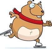 Patinagem no gelo do hamster dos desenhos animados ilustração stock