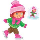 Patinagem no gelo pequena da menina ilustração royalty free