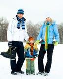 Patinaje de hielo de la familia Fotografía de archivo