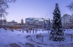 Patinaje de hielo de las familias en el parque olímpico Imagen de archivo libre de regalías
