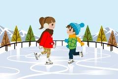 Patinaje de hielo de los niños en naturaleza Foto de archivo libre de regalías