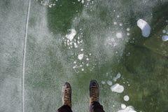 Patinaje de hielo del lago Imagen de archivo