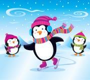 Patinaje de hielo del pingüino ilustración del vector