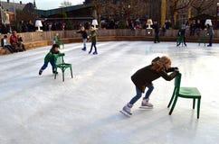 Patinaje de hielo en Amsterdam Fotos de archivo