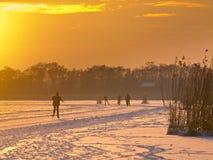 Patinaje de hielo en los Países Bajos Foto de archivo libre de regalías
