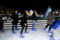 Patinaje de hielo en Zagreb Fotos de archivo libres de regalías