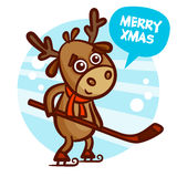 Patinaje de la Feliz Navidad y de los ciervos de la Feliz Año Nuevo ilustración del vector