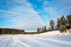 Patinaje de las montañas del invierno en el hotel Sosnovy Bor Imagen de archivo