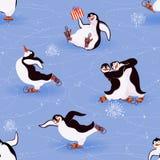 Patinaje de los pingüinos Foto de archivo libre de regalías