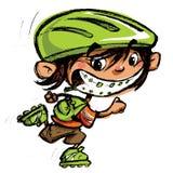 Patinaje sonriente de los apoyos locos felices del muchacho de la historieta con la cuchilla del rodillo stock de ilustración