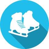 Patine l'icône ronde de silhouette blanche Photo libre de droits