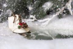 Patines de hielo de la Navidad Foto de archivo libre de regalías