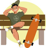 Patineur avec un longboard Image libre de droits