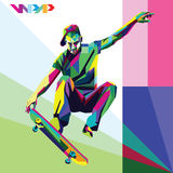 Patineur dans le style de l'illustration WPAP Photo libre de droits