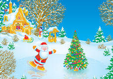 patineur de Claus Santa Photo libre de droits