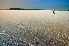 Patineur en horizontal de l'hiver Photos libres de droits