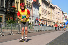 Patineur sur le marathon de paix de Kosice Photos libres de droits