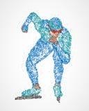 Patineurs colorés de vitesse de glace à la concurrence illustration libre de droits