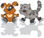 Patineurs de chien et de chat Images libres de droits