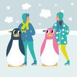 Patineurs de glace d'enfants de bande dessinée Photos libres de droits
