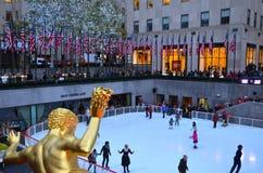 Patineurs de glace de centre de Rockefeller Photo libre de droits
