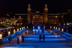 Patinoire au centre d'Amsterdam Images libres de droits