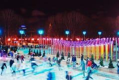 Patinoire en parc de Gorki à Moscou Photos libres de droits