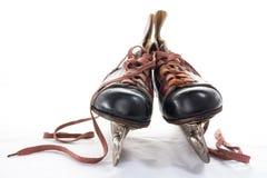 Patins antiques de hockey sur glace Photo stock