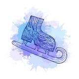 Patins d'hiver de griffonnage d'illustration avec le modèle de boho Images stock