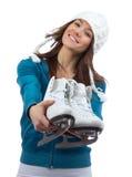 Patins de gelo da mulher para a patinagem de gelo do inverno imagens de stock royalty free