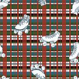 Patins de rolo do vetor no fundo sem emenda quadriculado do teste padrão do Natal ilustração royalty free
