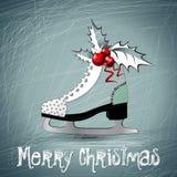 Patins do branco do Feliz Natal Fotografia de Stock